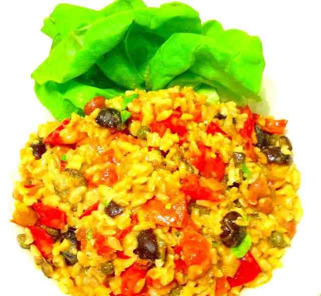 Veggie, Moringa, Rice and Beans Salad