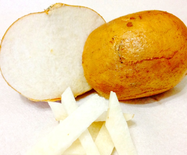 Jicama has a taste that is a cross between and apple and a potato - light, crisp, and sweet.