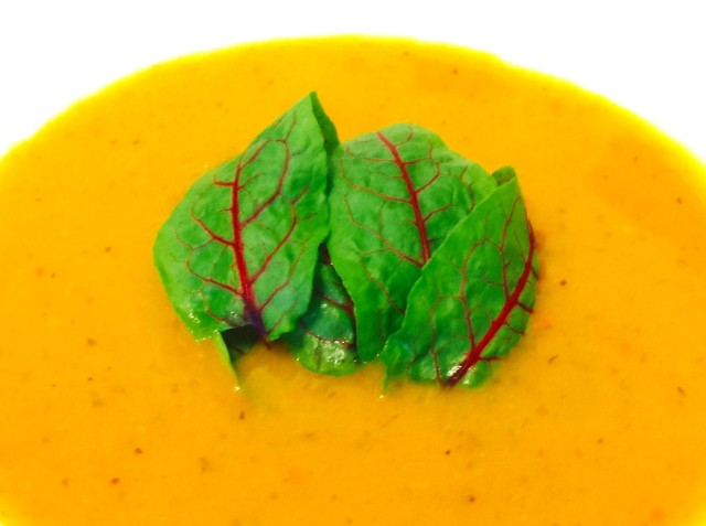 Organic Garlic, Pumpkin, and Cilantro Soup