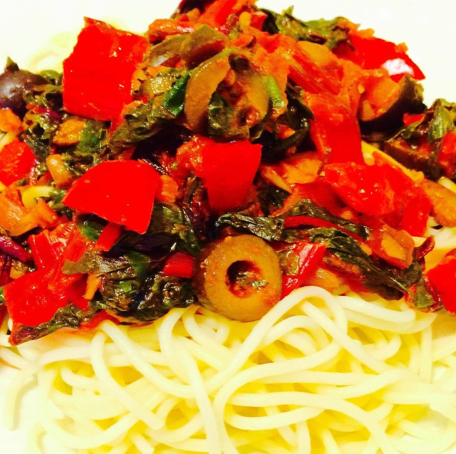 Swiss Chard and Red Pepper Pasta
