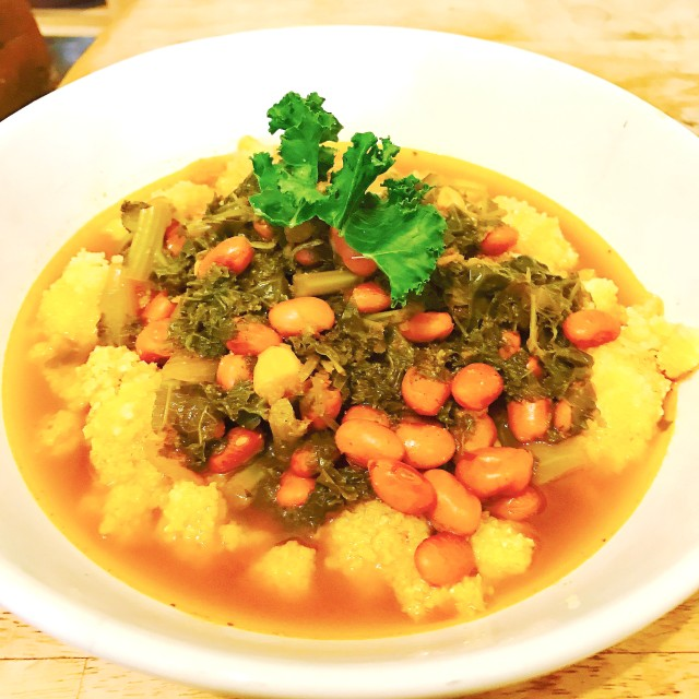 Organic Kale, Pink Beans, and Cornmeal Dumplings- Great for a Winter Meal.